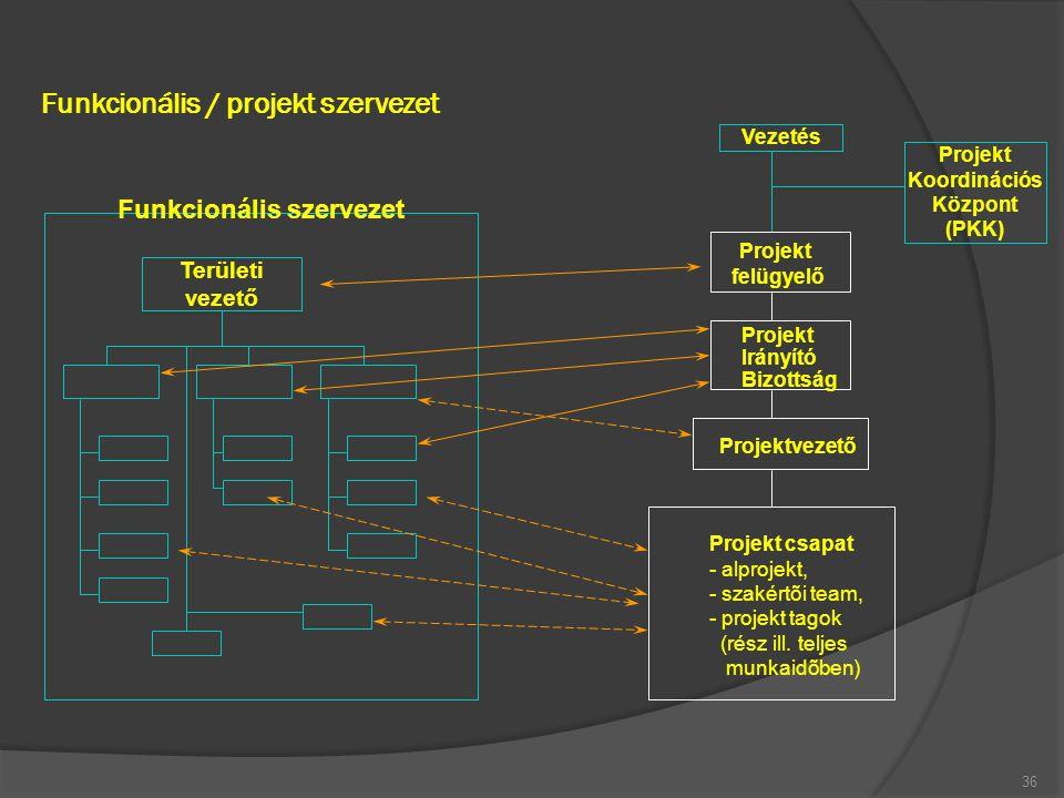 Funkcionális / projekt szervezet 36 Területi vezető Projekt felügyelő Projekt Irányító Bizottság Projektvezető Projekt csapat - alprojekt, - szakértõi