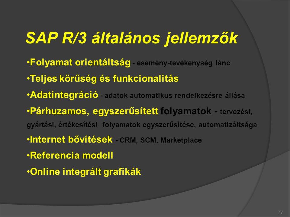 47 SAP R/3 általános jellemzők Folyamat orientáltság - esemény-tevékenység lánc Teljes körűség és funkcionalitás Adatintegráció - adatok automatikus r