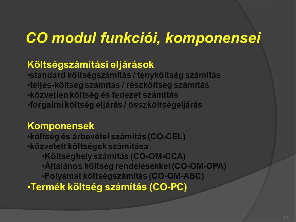 61 CO modul funkciói, komponensei Költségszámítási eljárások standard költségszámítás / tényköltség számítás teljes-költség számítás / részköltség szá