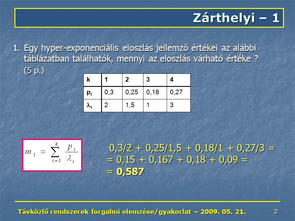 Távközlő rendszerek forgalmi elemzése/gyakorlat – 2009.