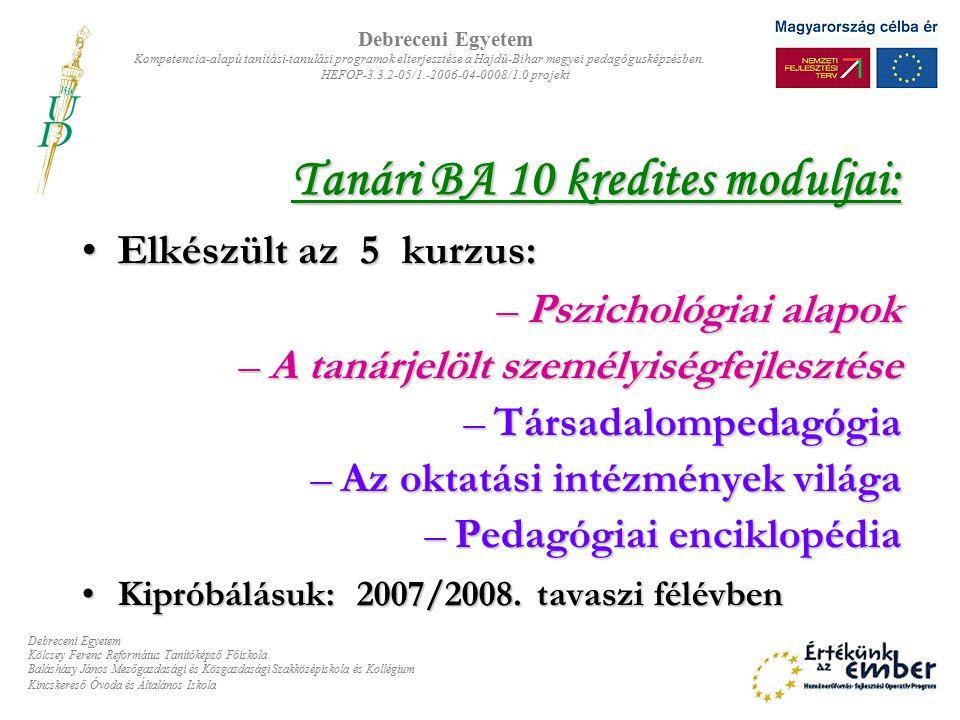 Tanári BA 10 kredites moduljai: Elkészült az 5 kurzus: –P–P–P–Pszichológiai alapok –A–A–A–A tanárjelölt személyiségfejlesztése –T–T–T–Társadalompedagógia –A–A–A–Az oktatási intézmények világa –P–P–P–Pedagógiai enciklopédia Kipróbálásuk: 2007/2008.