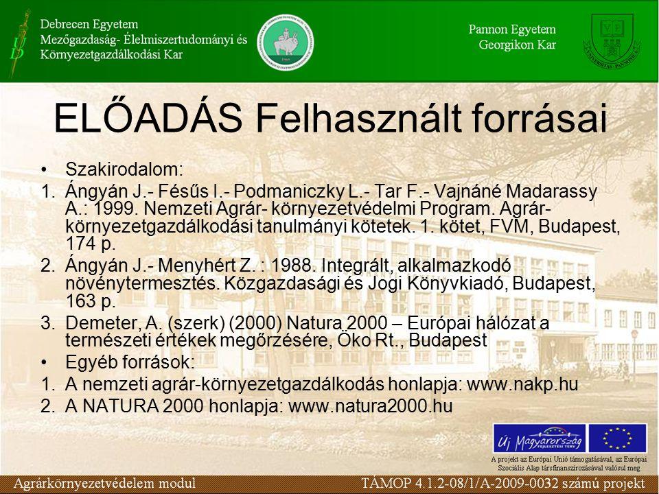 ELŐADÁS Felhasznált forrásai Szakirodalom: 1.Ángyán J.- Fésűs I.- Podmaniczky L.- Tar F.- Vajnáné Madarassy A.: 1999.