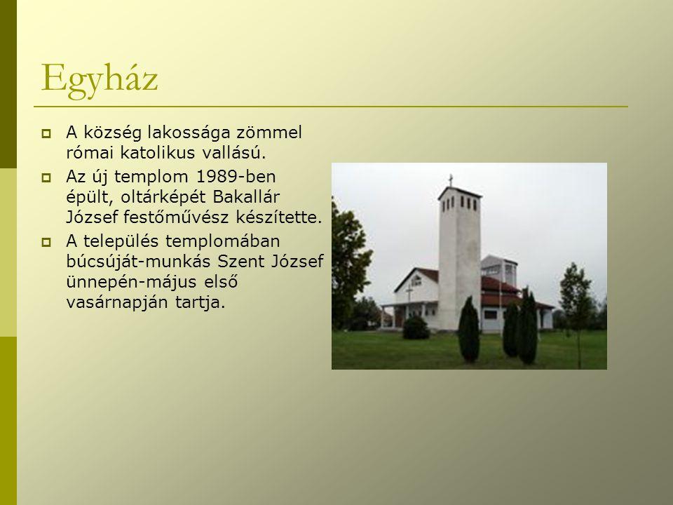 Egyház  A község lakossága zömmel római katolikus vallású.  Az új templom 1989-ben épült, oltárképét Bakallár József festőművész készítette.  A tel