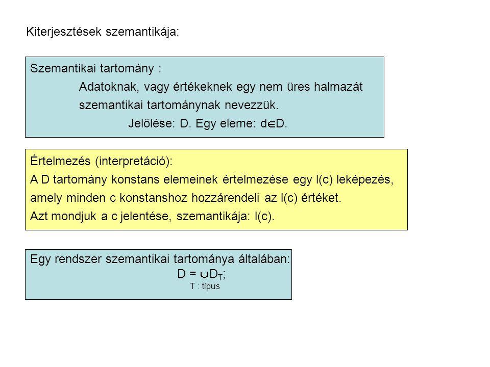 Kiterjesztések szemantikája: Szemantikai tartomány : Adatoknak, vagy értékeknek egy nem üres halmazát szemantikai tartománynak nevezzük.