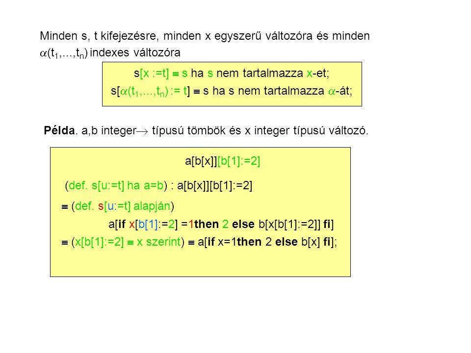 Minden s, t kifejezésre, minden x egyszerű változóra és minden  (t 1,...,t n ) indexes változóra s[x :=t]  s ha s nem tartalmazza x-et; s[  (t 1,...,t n ) := t]  s ha s nem tartalmazza  -át; Példa.