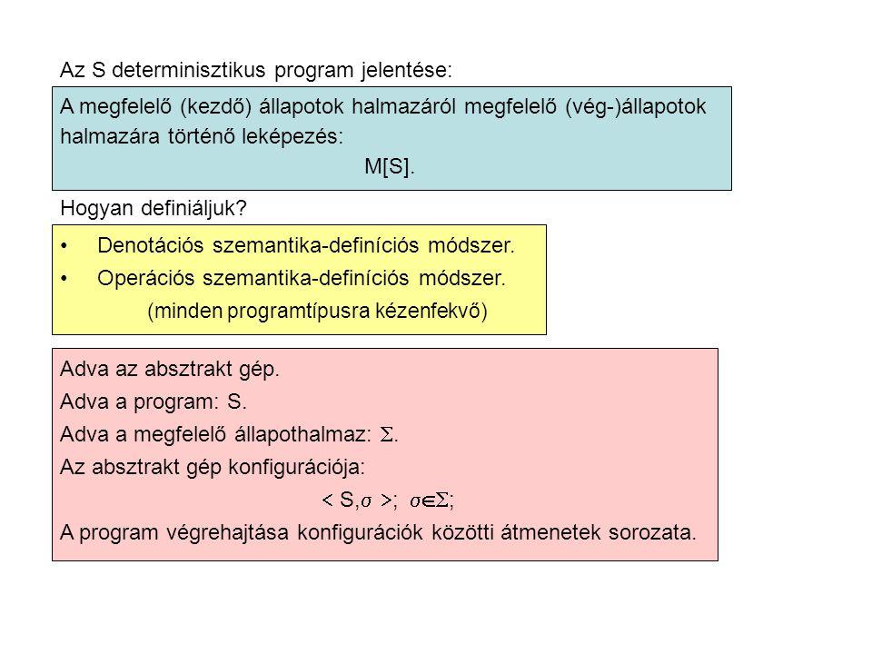 Az S determinisztikus program jelentése: A megfelelő (kezdő) állapotok halmazáról megfelelő (vég-)állapotok halmazára történő leképezés: M[S].