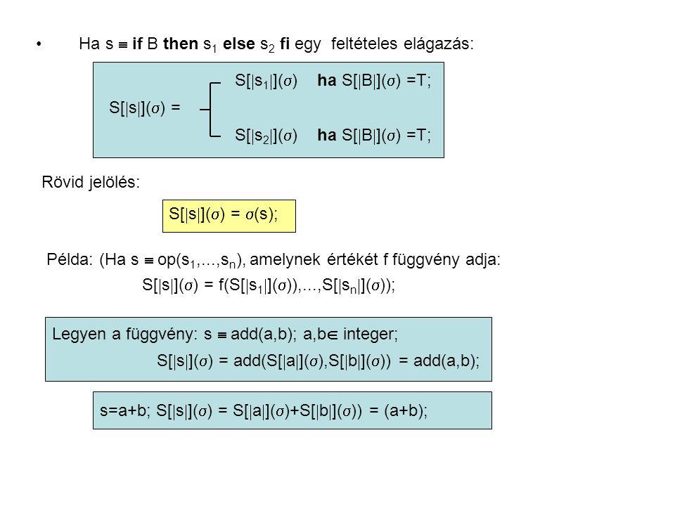 Ha s  if B then s 1 else s 2 fi egy feltételes elágazás: S[  s 1  ](  ) ha S[  B  ](  ) =T; S[  s  ](  ) = S[  s 2  ](  ) ha S[  B  ](  ) =T; Rövid jelölés: S[  s  ](  ) =  (s); Példa: (Ha s  op(s 1,...,s n ), amelynek értékét f függvény adja: S[  s  ](  ) = f(S[  s 1  ](  )),...,S[  s n  ](  )); Legyen a függvény: s  add(a,b); a,b  integer; S[  s  ](  ) = add(S[  a  ](  ),S[  b  ](  )) = add(a,b); s=a+b; S[  s  ](  ) = S[  a  ](  )+S[  b  ](  )) = (a+b);