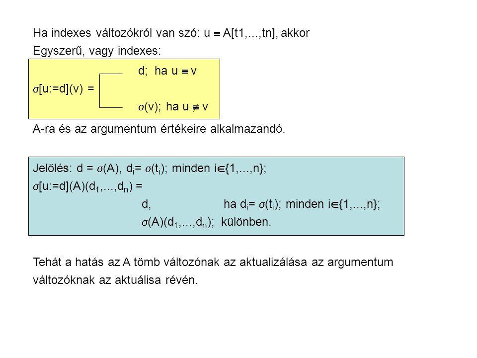 Ha indexes változókról van szó: u  A[t1,...,tn], akkor Egyszerű, vagy indexes: d; ha u  v  [u:=d](v) =  (v); ha u  v A-ra és az argumentum értékeire alkalmazandó.