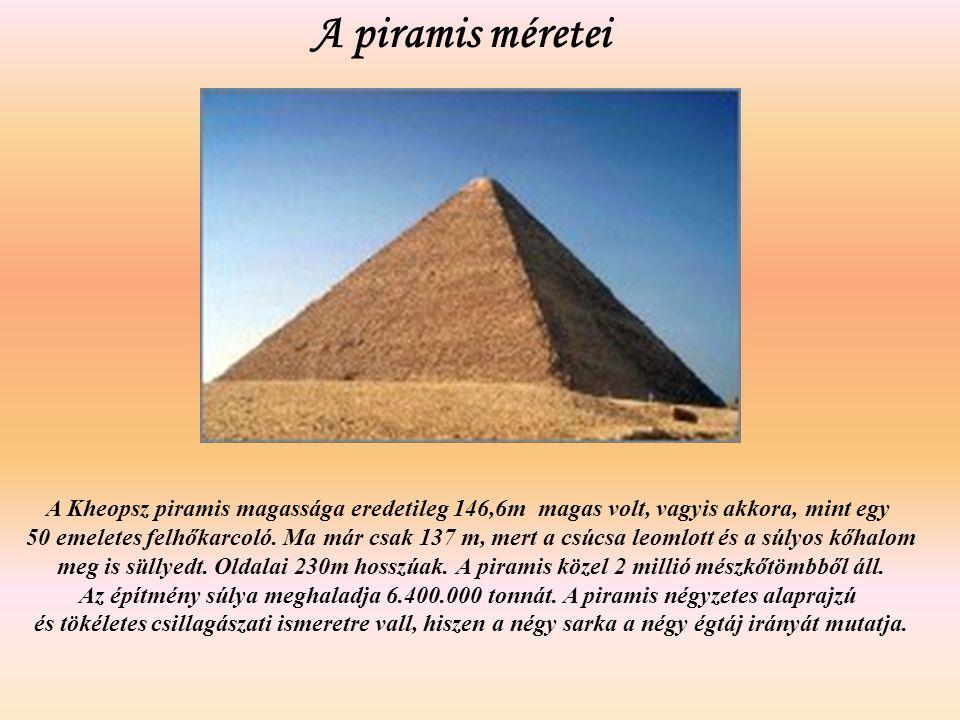 A piramis méretei A Kheopsz piramis magassága eredetileg 146,6m magas volt, vagyis akkora, mint egy 50 emeletes felhőkarcoló. Ma már csak 137 m, mert