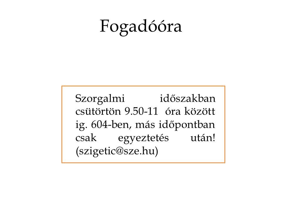 Fogadóóra Szorgalmi időszakban csütörtön 9.50-11 óra között ig.