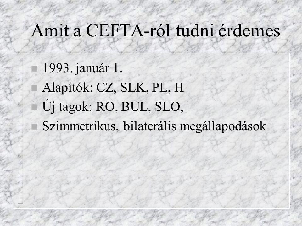 Amit a CEFTA-ról tudni érdemes n 1993. január 1.