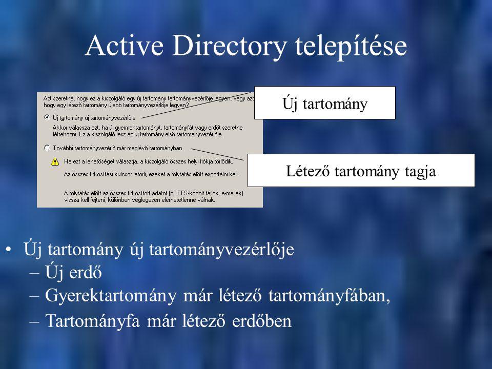 Active Directory telepítése Új tartomány Létező tartomány tagja Új tartomány új tartományvezérlője –Új erdő –Gyerektartomány már létező tartományfában, –Tartományfa már létező erdőben