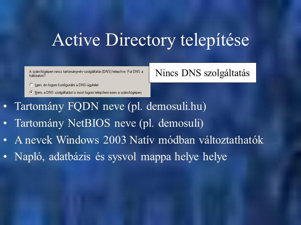 Active Directory telepítése Nincs DNS szolgáltatás Tartomány FQDN neve (pl. demosuli.hu) Tartomány NetBIOS neve (pl. demosuli) A nevek Windows 2003 Na