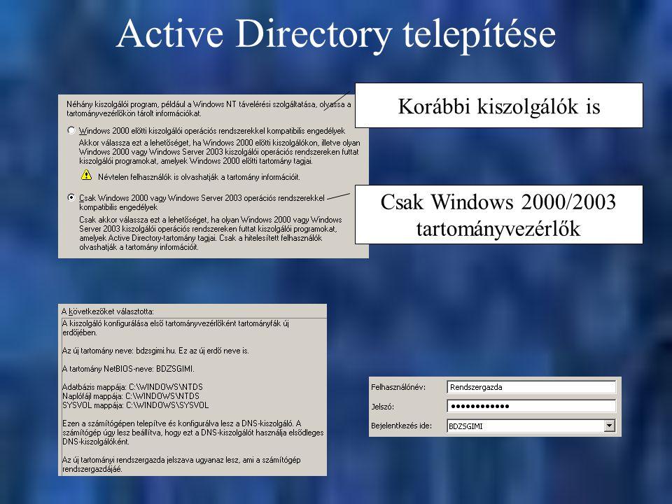 Active Directory telepítése Csak Windows 2000/2003 tartományvezérlők Korábbi kiszolgálók is