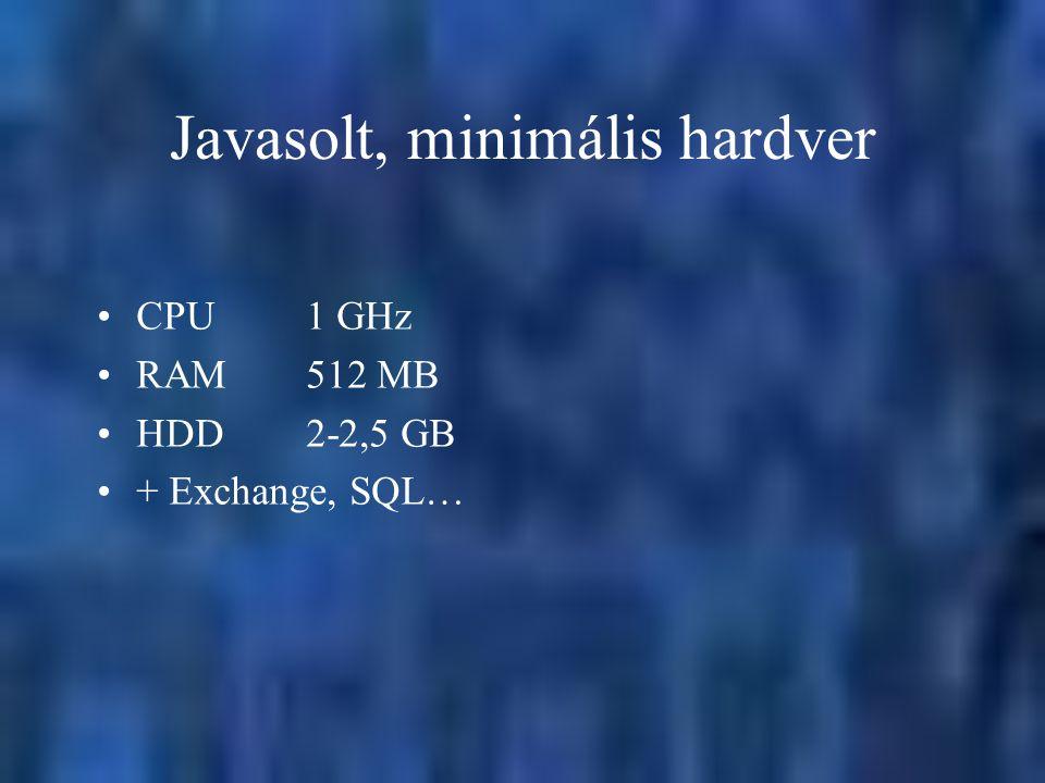 Javasolt, minimális hardver CPU1 GHz RAM512 MB HDD2-2,5 GB + Exchange, SQL…