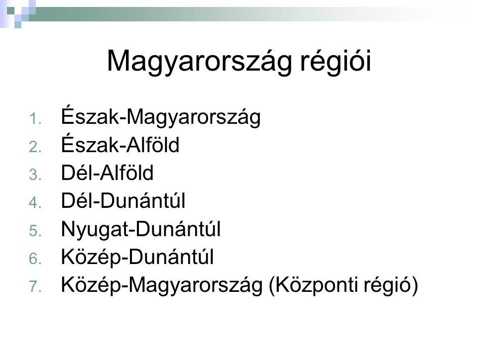 Magyarország régiói 1. Észak-Magyarország 2. Észak-Alföld 3.