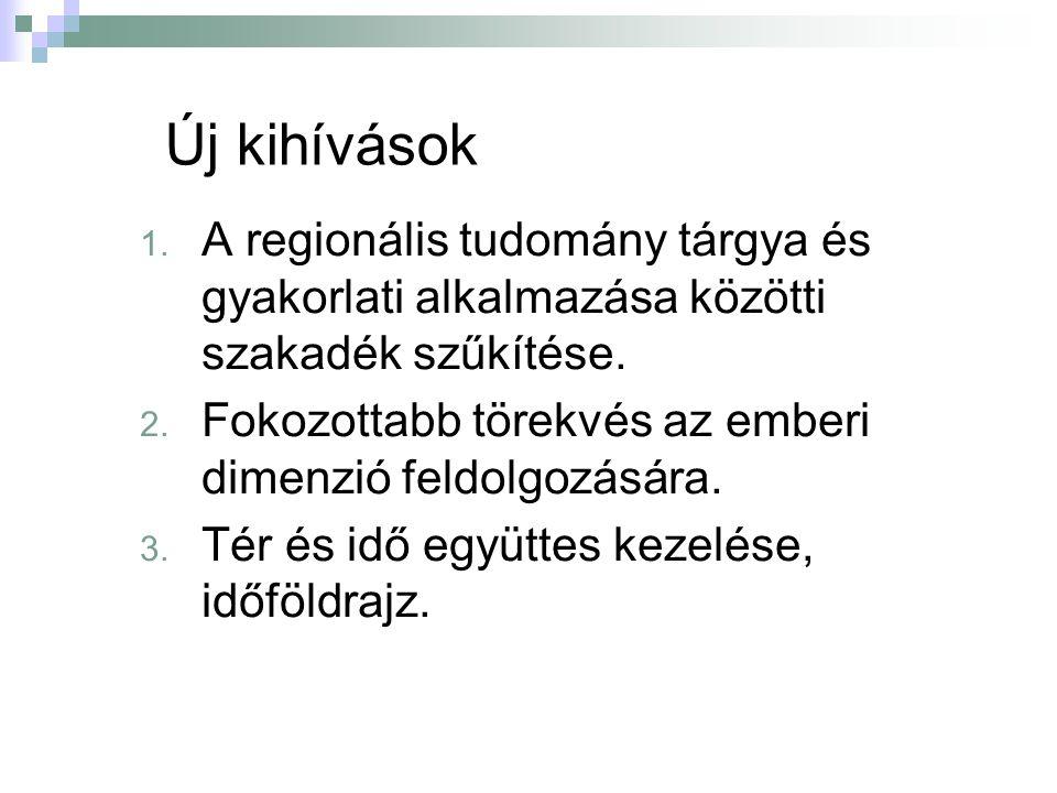 Új kihívások 1. A regionális tudomány tárgya és gyakorlati alkalmazása közötti szakadék szűkítése.