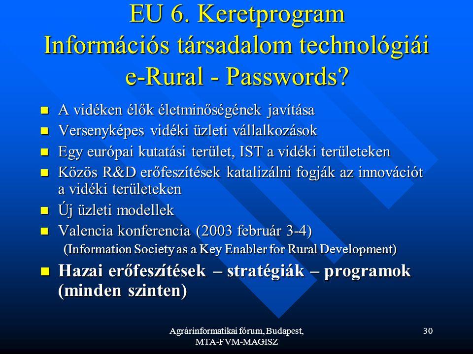Agrárinformatikai fórum, Budapest, MTA-FVM-MAGISZ 30 EU 6.