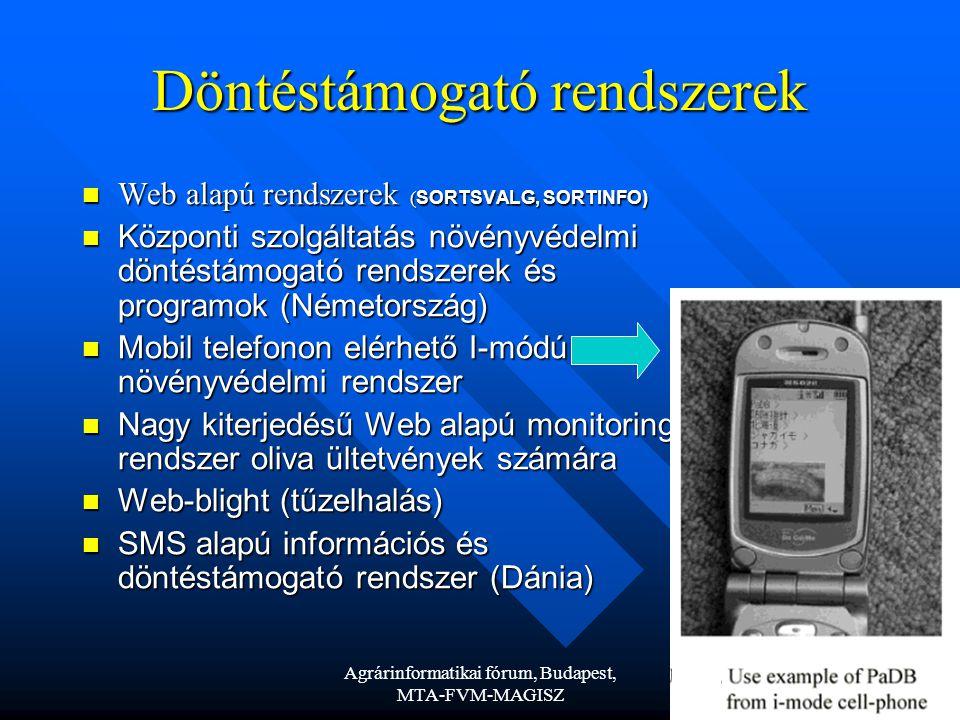Agrárinformatikai fórum, Budapest, MTA-FVM-MAGISZ 8 Döntéstámogató rendszerek Web alapú rendszerek ( SORTSVALG, SORTINFO) Web alapú rendszerek ( SORTSVALG, SORTINFO) Központi szolgáltatás növényvédelmi döntéstámogató rendszerek és programok (Németország) Központi szolgáltatás növényvédelmi döntéstámogató rendszerek és programok (Németország) Mobil telefonon elérhető I-módú növényvédelmi rendszer Mobil telefonon elérhető I-módú növényvédelmi rendszer Nagy kiterjedésű Web alapú monitoring rendszer oliva ültetvények számára Nagy kiterjedésű Web alapú monitoring rendszer oliva ültetvények számára Web-blight (tűzelhalás) Web-blight (tűzelhalás) SMS alapú információs és döntéstámogató rendszer (Dánia) SMS alapú információs és döntéstámogató rendszer (Dánia)
