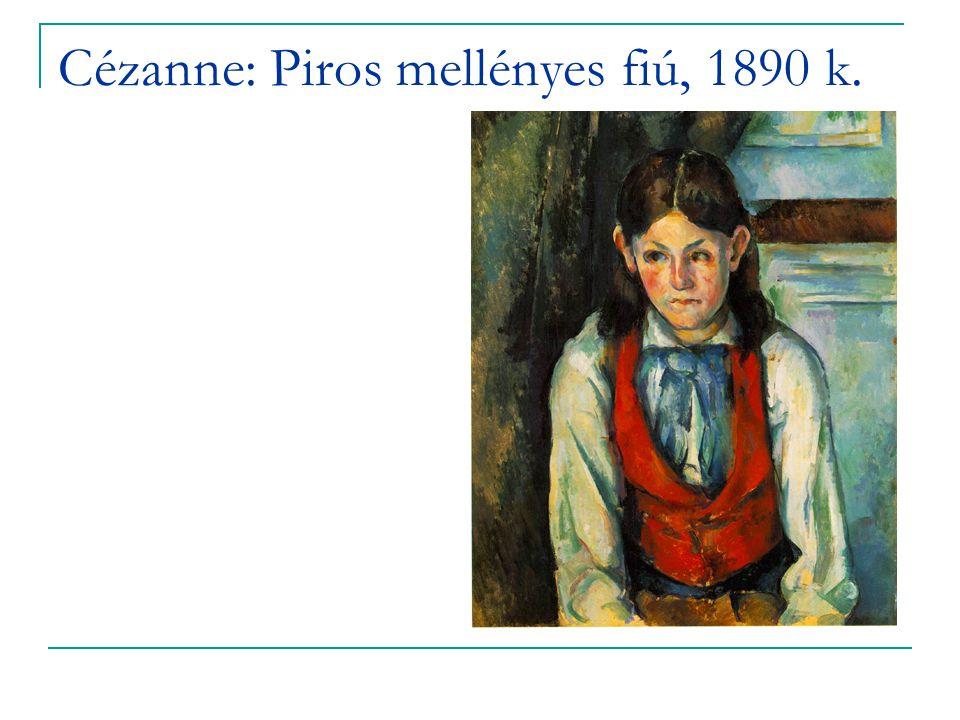Cézanne: Piros mellényes fiú, 1890 k.