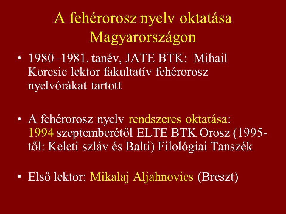 A fehérorosz nyelv oktatása Magyarországon 1980–1981. tanév, JATE BTK: Mihail Korcsic lektor fakultatív fehérorosz nyelvórákat tartott A fehérorosz ny