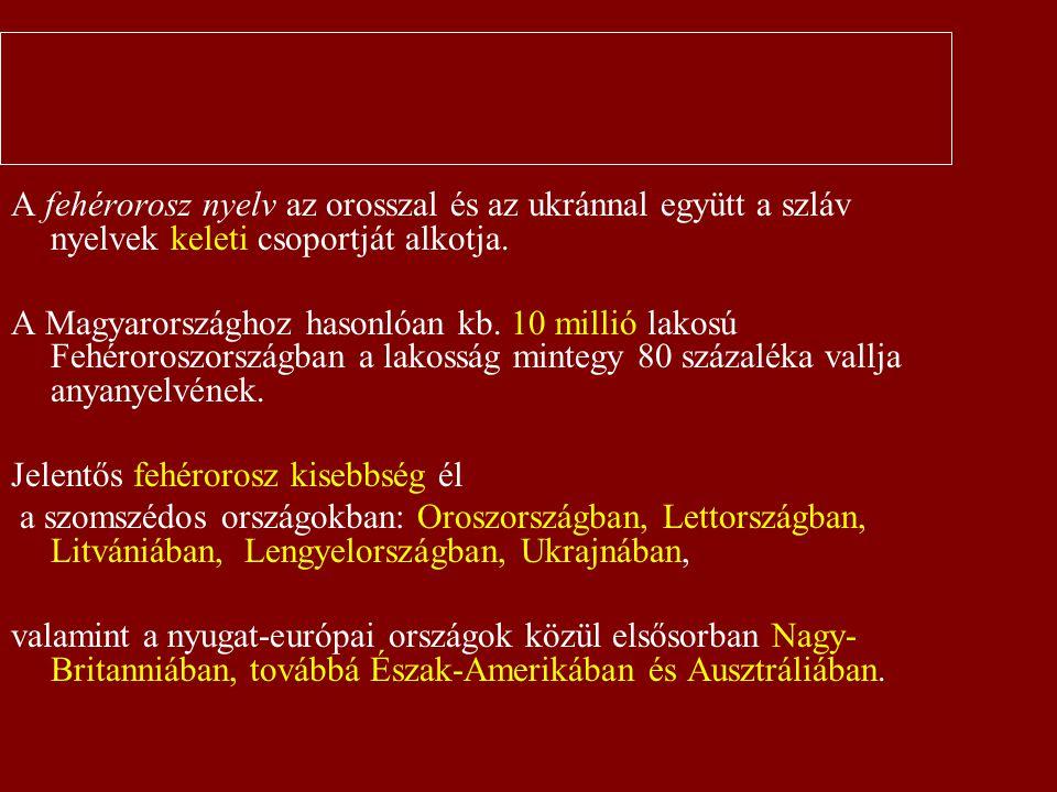 Bevezetés A fehérorosz nyelv az orosszal és az ukránnal együtt a szláv nyelvek keleti csoportját alkotja. A Magyarországhoz hasonlóan kb. 10 millió la
