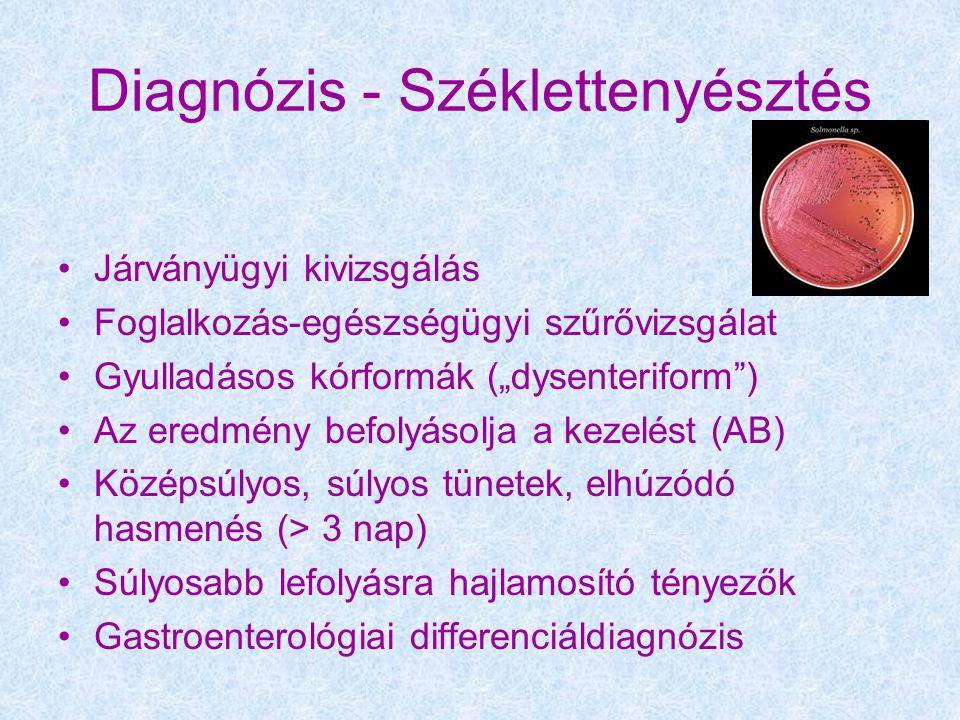 """Diagnózis - Széklettenyésztés Járványügyi kivizsgálás Foglalkozás-egészségügyi szűrővizsgálat Gyulladásos kórformák (""""dysenteriform ) Az eredmény befolyásolja a kezelést (AB) Középsúlyos, súlyos tünetek, elhúzódó hasmenés (> 3 nap) Súlyosabb lefolyásra hajlamosító tényezők Gastroenterológiai differenciáldiagnózis"""