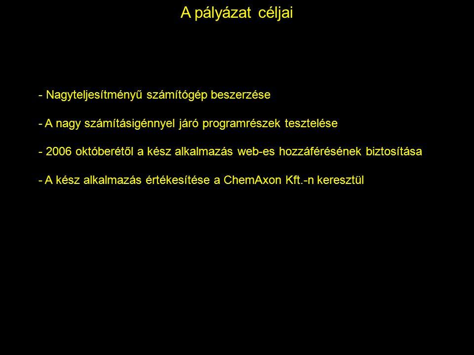 A pályázat céljai - Nagyteljesítményű számítógép beszerzése - A nagy számításigénnyel járó programrészek tesztelése - 2006 októberétől a kész alkalmazás web-es hozzáférésének biztosítása - A kész alkalmazás értékesítése a ChemAxon Kft.-n keresztül