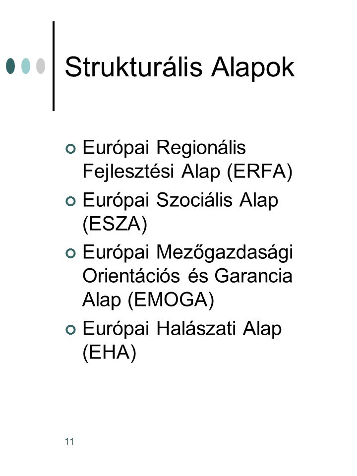 11 Strukturális Alapok Európai Regionális Fejlesztési Alap (ERFA) Európai Szociális Alap (ESZA) Európai Mezőgazdasági Orientációs és Garancia Alap (EMOGA) Európai Halászati Alap (EHA)