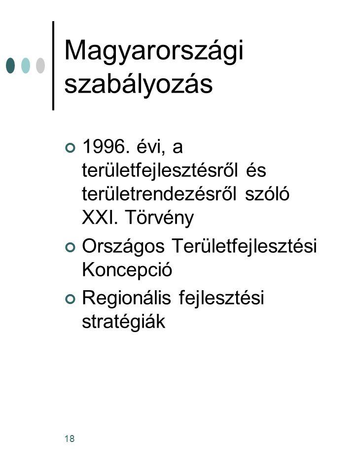 18 Magyarországi szabályozás 1996.évi, a területfejlesztésről és területrendezésről szóló XXI.