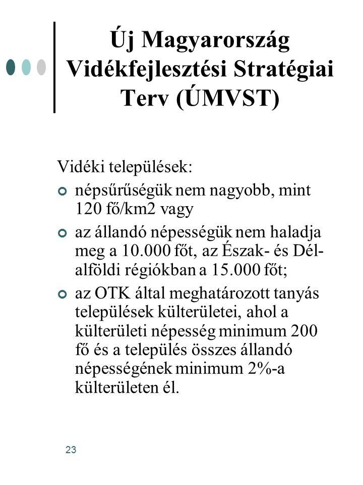 23 Új Magyarország Vidékfejlesztési Stratégiai Terv (ÚMVST) Vidéki települések: népsűrűségük nem nagyobb, mint 120 fő/km2 vagy az állandó népességük nem haladja meg a 10.000 főt, az Észak- és Dél- alföldi régiókban a 15.000 főt; az OTK által meghatározott tanyás települések külterületei, ahol a külterületi népesség minimum 200 fő és a település összes állandó népességének minimum 2%-a külterületen él.