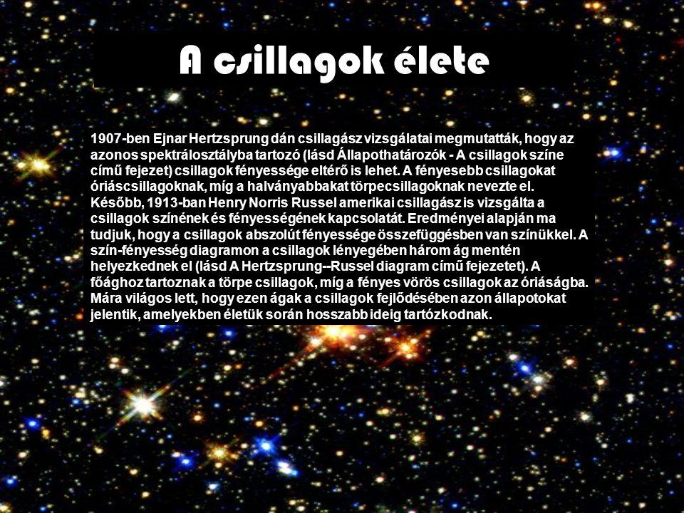 A csillagok élete 1907-ben Ejnar Hertzsprung dán csillagász vizsgálatai megmutatták, hogy az azonos spektrálosztályba tartozó (lásd Állapothatározók -