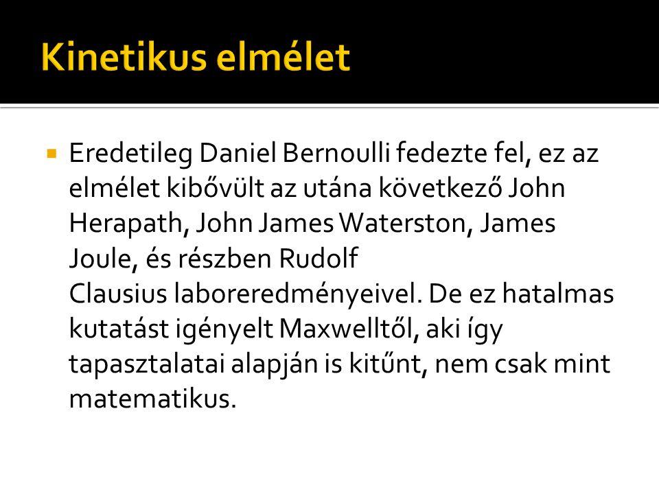  Eredetileg Daniel Bernoulli fedezte fel, ez az elmélet kibővült az utána következő John Herapath, John James Waterston, James Joule, és részben Rudolf Clausius laboreredményeivel.
