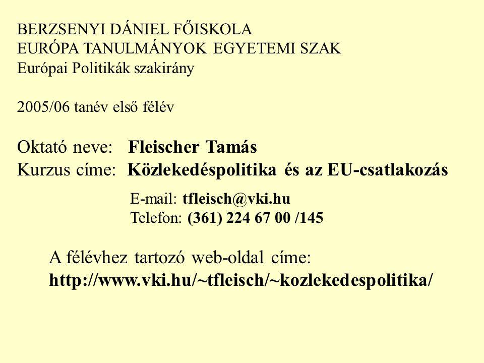 BERZSENYI DÁNIEL FŐISKOLA EURÓPA TANULMÁNYOK EGYETEMI SZAK Európai Politikák szakirány 2005/06 tanév első félév Oktató neve: Fleischer Tamás Kurzus címe: Közlekedéspolitika és az EU-csatlakozás Találkozási alkalmak: hétfőnként 10-12.30 szept.