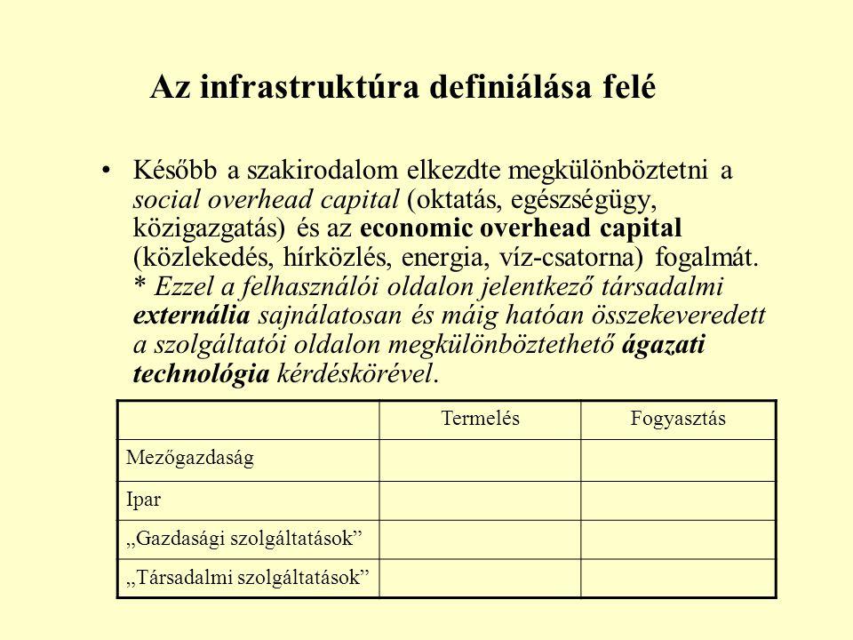 Az infrastruktúra definiálása felé Később a szakirodalom elkezdte megkülönböztetni a social overhead capital (oktatás, egészségügy, közigazgatás) és az economic overhead capital (közlekedés, hírközlés, energia, víz-csatorna) fogalmát.
