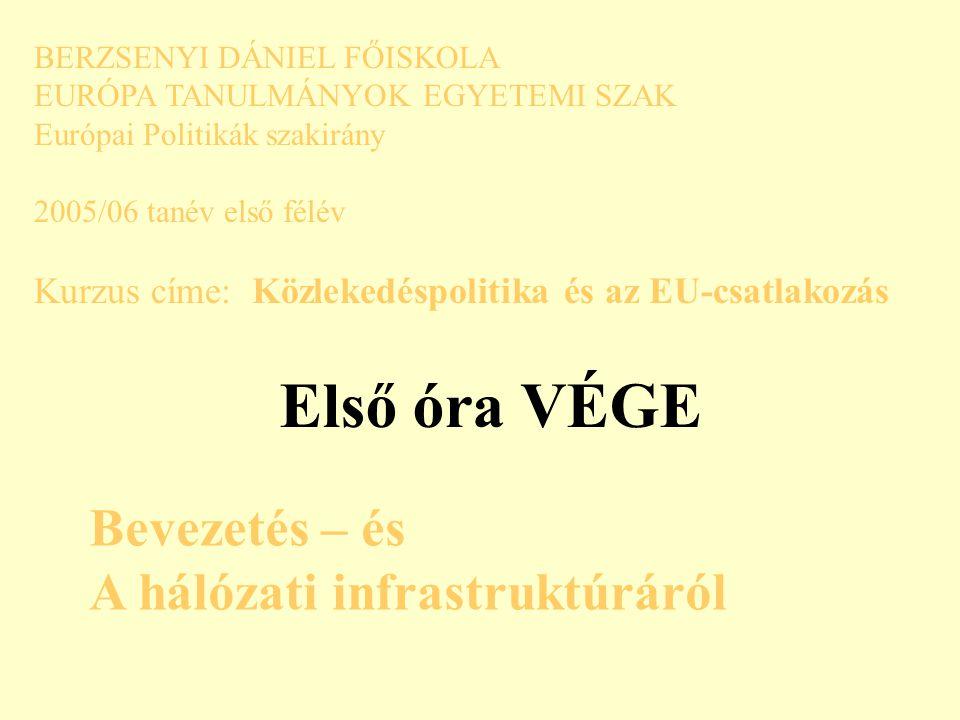 BERZSENYI DÁNIEL FŐISKOLA EURÓPA TANULMÁNYOK EGYETEMI SZAK Európai Politikák szakirány 2005/06 tanév első félév Kurzus címe: Közlekedéspolitika és az EU-csatlakozás Első óra VÉGE Bevezetés – és A hálózati infrastruktúráról