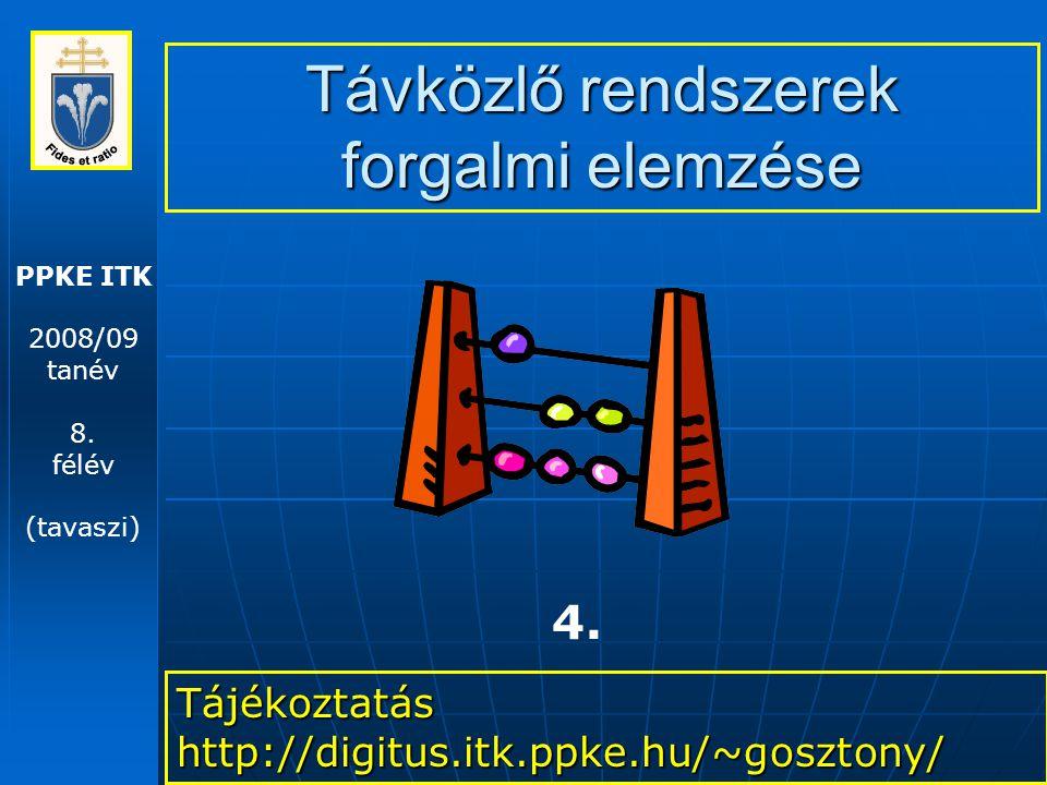 PPKE ITK 2008/09 tanév 8. félév (tavaszi) Távközlő rendszerek forgalmi elemzése Tájékoztatás http://digitus.itk.ppke.hu/~gosztony/ 4.