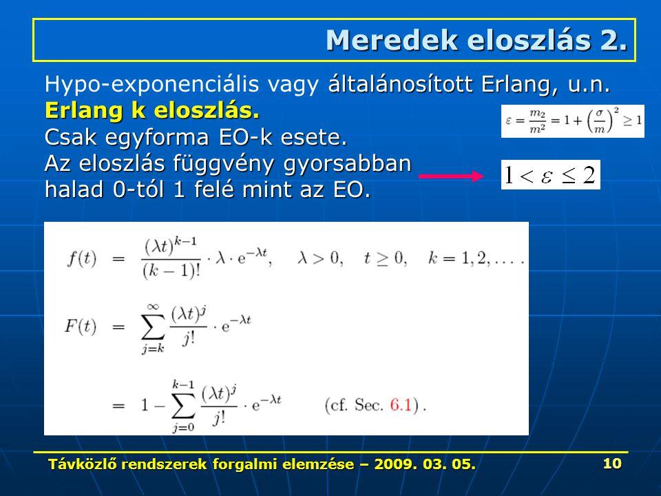 Távközlő rendszerek forgalmi elemzése – 2009. 03. 05. 10 Meredek eloszlás 2. általánosított Erlang, u.n. Hypo-exponenciális vagy általánosított Erlang