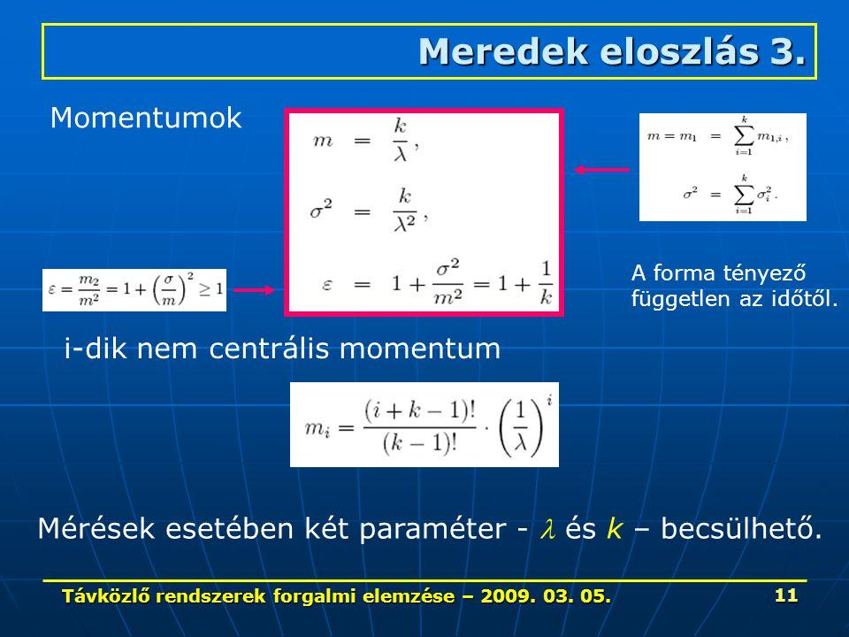 Távközlő rendszerek forgalmi elemzése – 2009. 03. 05. 11 Meredek eloszlás 3. Momentumok i-dik nem centrális momentum A forma tényező független az időt