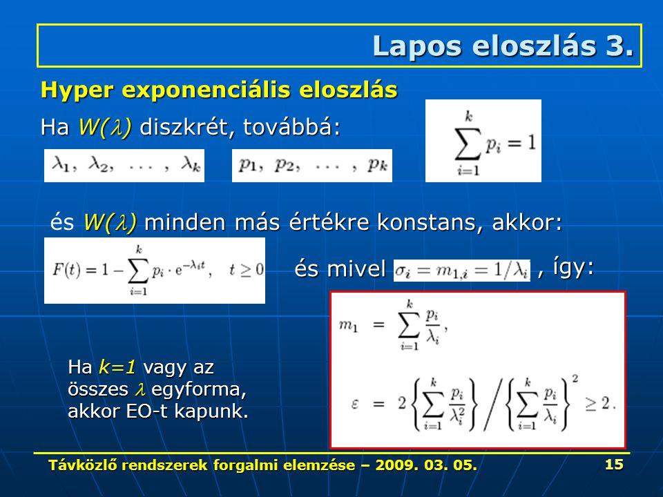 Távközlő rendszerek forgalmi elemzése – 2009. 03. 05. 15 Lapos eloszlás 3. Hyper exponenciális eloszlás Ha W() diszkrét, továbbá: W() minden más érték