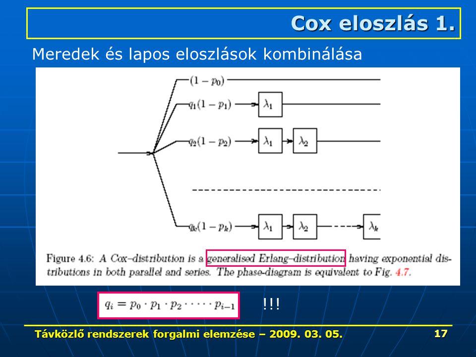 Távközlő rendszerek forgalmi elemzése – 2009. 03. 05. 17 Cox eloszlás 1. Meredek és lapos eloszlások kombinálása !!!