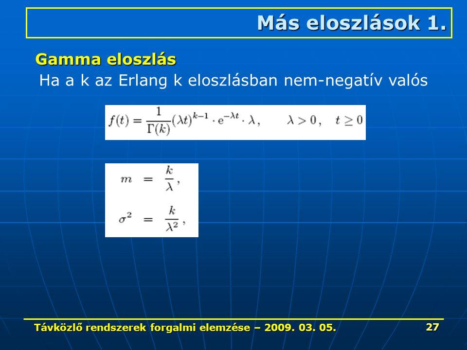 Távközlő rendszerek forgalmi elemzése – 2009. 03. 05. 27 Más eloszlások 1. Gamma eloszlás Ha a k az Erlang k eloszlásban nem-negatív valós
