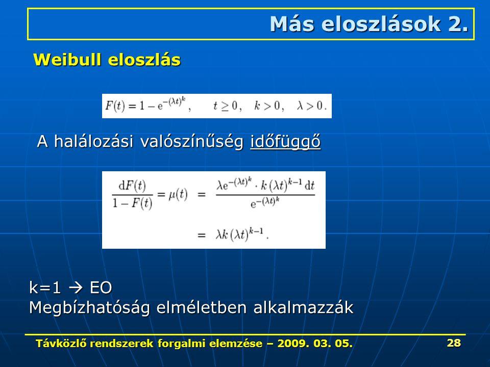 Távközlő rendszerek forgalmi elemzése – 2009. 03. 05. 28 Más eloszlások 2. Weibull eloszlás A halálozási valószínűség időfüggő k=1  EO Megbízhatóság