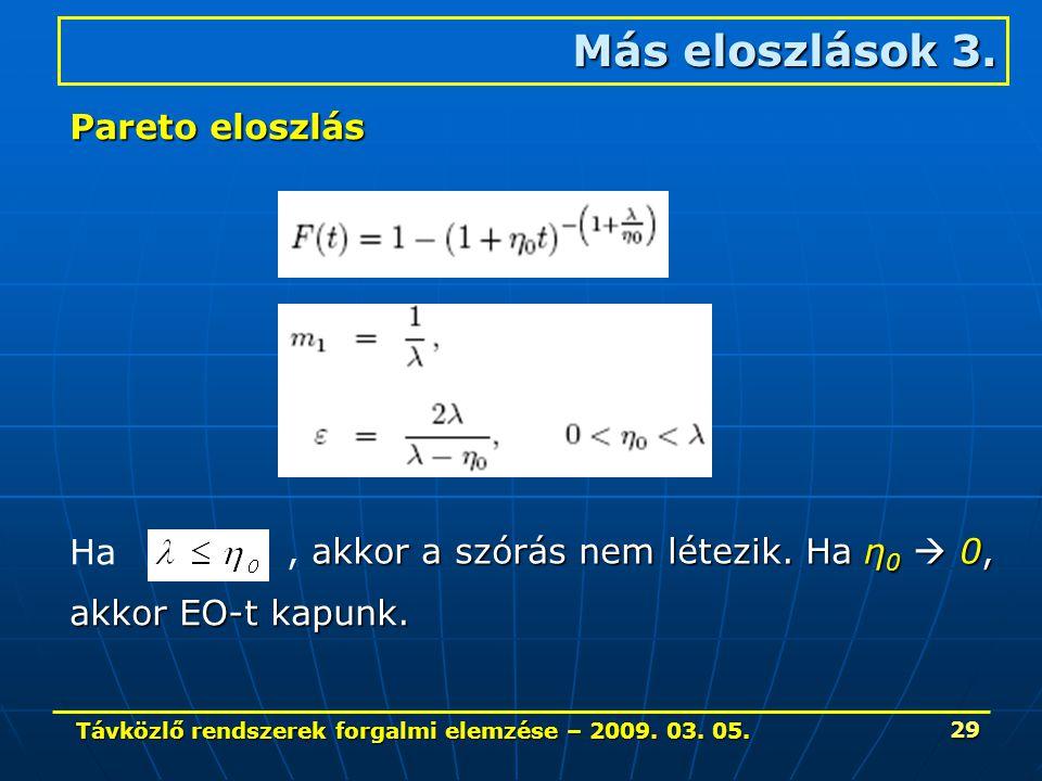 Távközlő rendszerek forgalmi elemzése – 2009. 03. 05. 29 Más eloszlások 3. Pareto eloszlás Ha akkor a szórás nem létezik. Ha η 0  0,, akkor a szórás