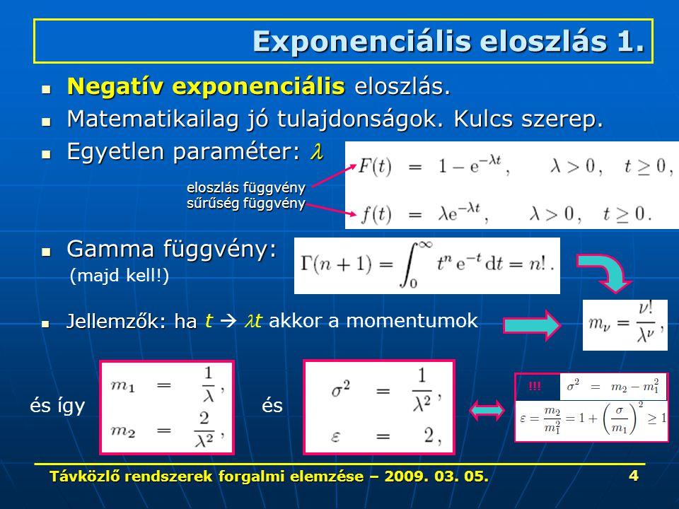 Távközlő rendszerek forgalmi elemzése – 2009. 03. 05. 4 Negatív exponenciális eloszlás. Negatív exponenciális eloszlás. Matematikailag jó tulajdonságo