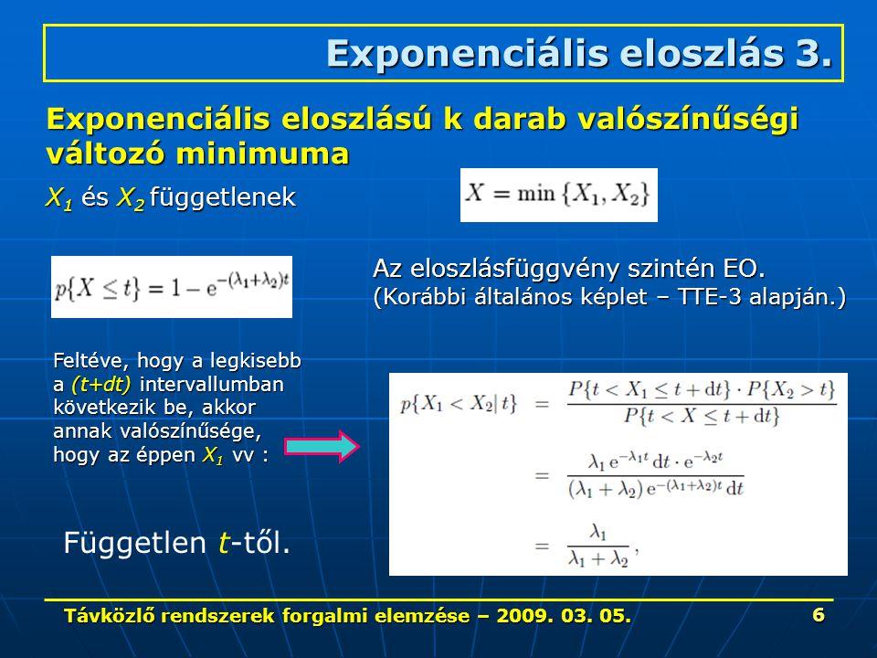 Távközlő rendszerek forgalmi elemzése – 2009. 03. 05. 6 Exponenciális eloszlás 3. Exponenciális eloszlású k darab valószínűségi változó minimuma X 1 é