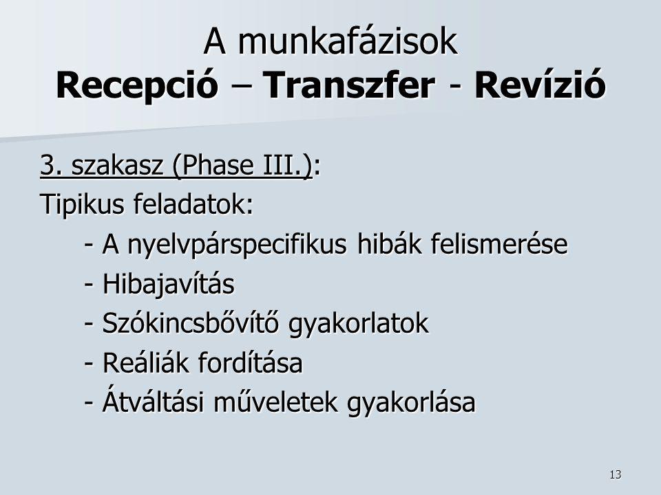 13 A munkafázisok Recepció – Transzfer - Revízió 3.