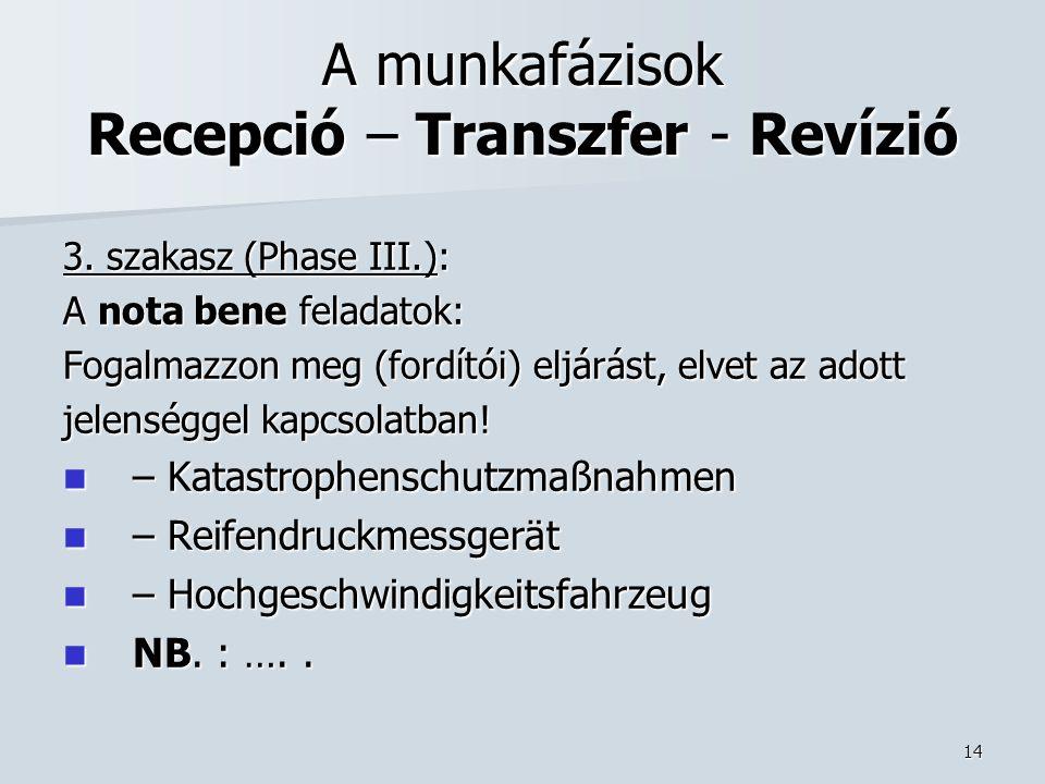14 A munkafázisok Recepció – Transzfer - Revízió 3.