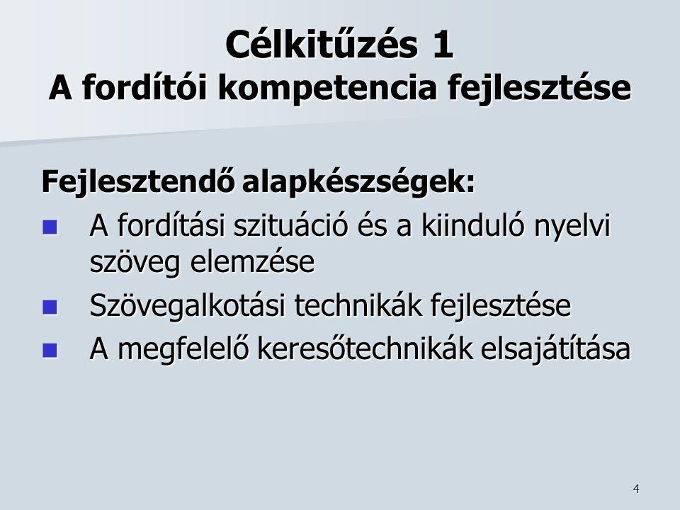 4 Célkitűzés 1 A fordítói kompetencia fejlesztése Fejlesztendő alapkészségek: A fordítási szituáció és a kiinduló nyelvi szöveg elemzése A fordítási szituáció és a kiinduló nyelvi szöveg elemzése Szövegalkotási technikák fejlesztése Szövegalkotási technikák fejlesztése A megfelelő keresőtechnikák elsajátítása A megfelelő keresőtechnikák elsajátítása