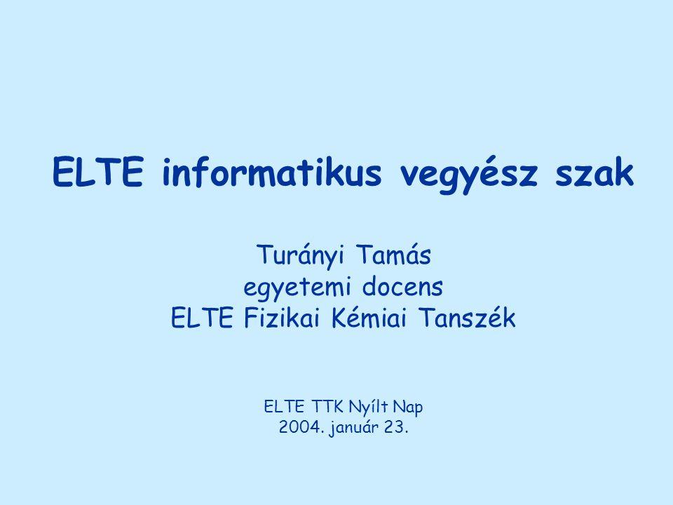 ELTE informatikus vegyész szak Turányi Tamás egyetemi docens ELTE Fizikai Kémiai Tanszék ELTE TTK Nyílt Nap 2004. január 23.